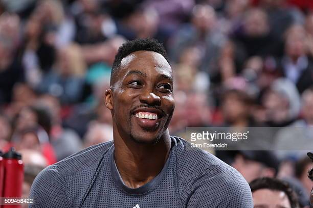 Dwight Howard of the Houston Rockets looks on during the game against the Portland Trail Blazers on February 10 2016 at the Moda Center in Portland...