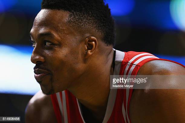 Dwight Howard of the Houston Rockets looks on during the second quarter against the Boston Celtics at TD Garden on March 11 2016 in Boston...