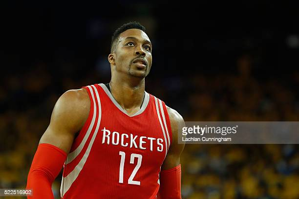 Dwight Howard of the Houston Rockets looks on in the second quarter in Game Two of the Western Conference Quarterfinals during the 2016 NBA Playoffs...