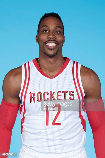 Dwight Howard of the Houston Rockets poses for a photo during NBA Media Day at the Toyota Center on September 28 2015 in Houston Texas NOTE TO USER...