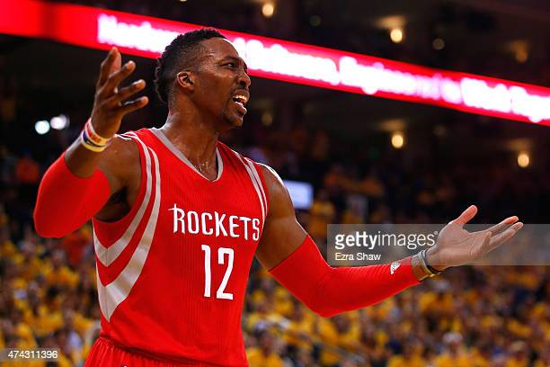 Dwight Howard of the Houston Rockets reacts after a play in the first quarter against the Golden State Warriors during game two of the Western...