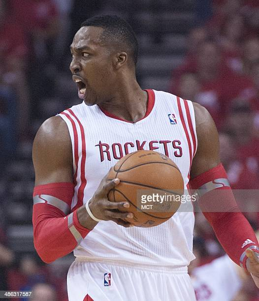 Dwight Howard of the Houston Rockets reacts to a call as his team faces the Portland Trail Blazers in the first half of Game 2 of their firstround...
