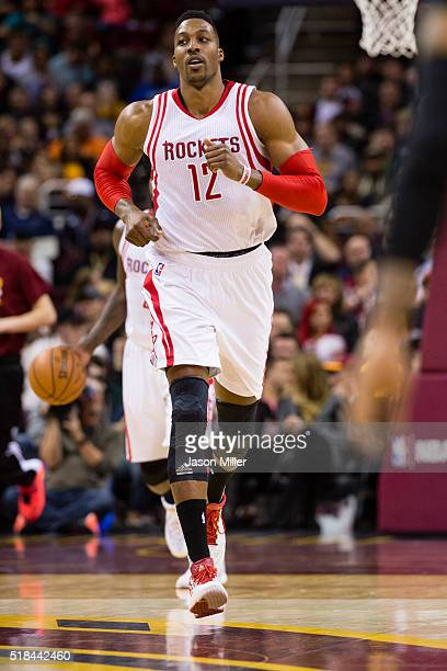 Dwight Howard of the Houston Rockets runs down the court during the first half against the Cleveland Cavaliers at Quicken Loans Arena on March 29...