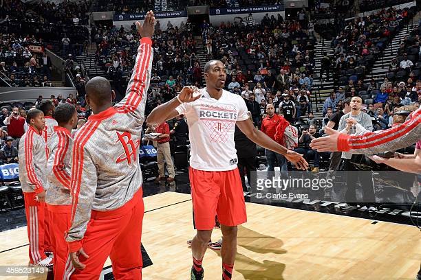 Dwight Howard of the Houston Rockets runs out before the game against the San Antonio Spurs at the ATT Center on December 25 2013 in San Antonio...