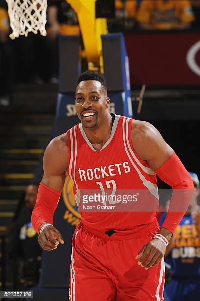 Dwight Howard of the Houston Rockets runs the court against the Golden State Warriors in Game Two of the Western Conference Quarterfinals during the...