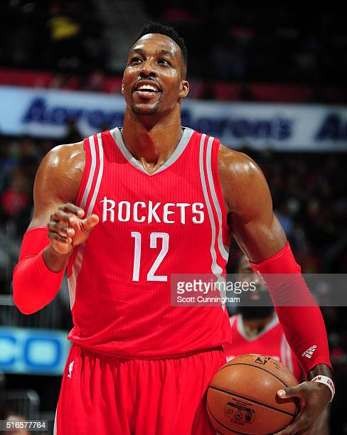 Dwight Howard of the Houston Rockets shoots a free throw against the Atlanta Hawks on March 19 2016 at Philips Center in Atlanta Georgia NOTE TO USER...