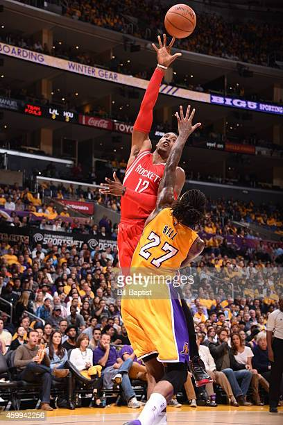 Dwight Howard of the Houston Rockets shoots the ball against the Los Angeles Lakers on October 28 2014 at the Staples Center in Los Angeles...