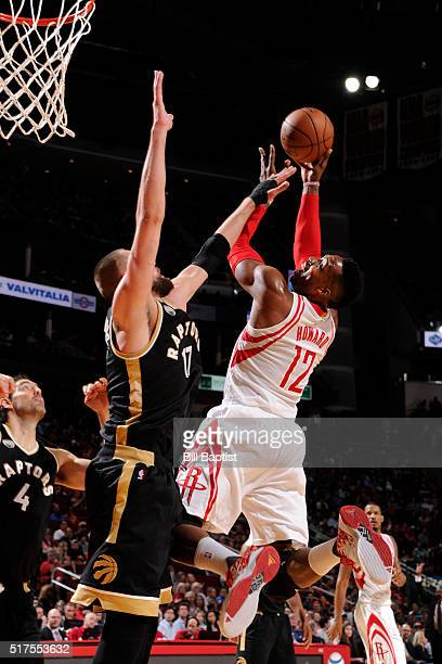 Dwight Howard of the Houston Rockets shoots the ball against the Toronto Raptors on March 25 2016 at the Toyota Center in Houston Texas NOTE TO USER...