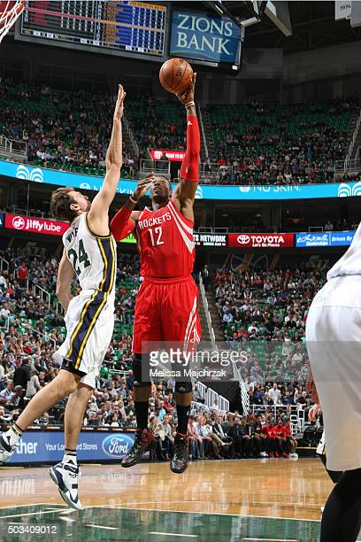 Dwight Howard of the Houston Rockets shoots the ball against the Utah Jazz on January 4 2016 at vivintSmartHome Arena in Salt Lake City Utah NOTE TO...