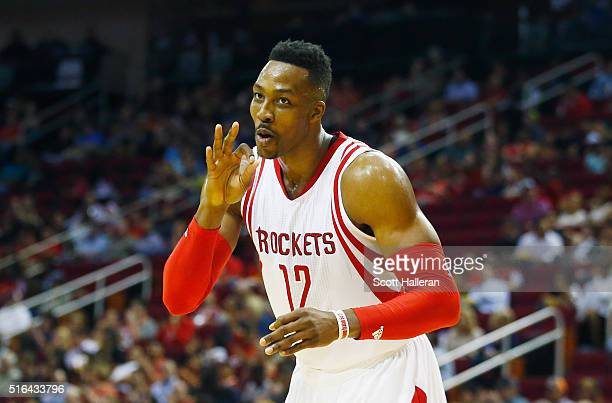 Dwight Howard of the Houston Rockets waits on the court during their game against the Minnesota Timberwolves at the Toyota Center on March 18 2016 in...