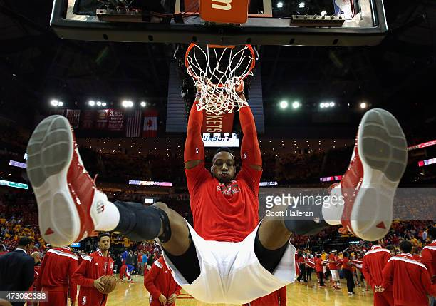 Dwight Howard of the Houston Rockets warms up before Game Five of the Western Conference Semifinals against the Los Angeles Clippers at the Toyota...