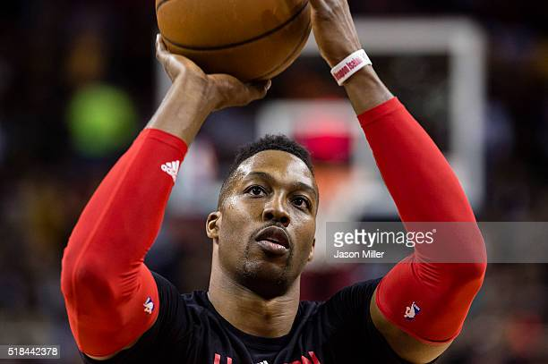 Dwight Howard of the Houston Rockets warms up on the court prior to the game against the Cleveland Cavaliers at Quicken Loans Arena on March 29 2016...