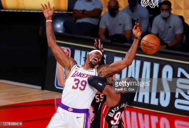 Dwight Howard of the Los Angeles Lakers battles for the ball with Jae Crowder of the Miami Heat during the first half in Game Three of the 2020 NBA...