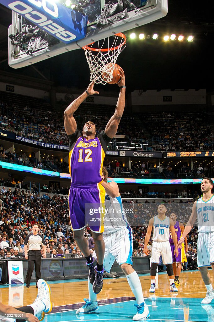 Dwight Howard #12 of the Los Angeles Lakers drives to the basket against the New Orleans Hornets on March 6, 2013 at the New Orleans Arena in New Orleans, Louisiana.
