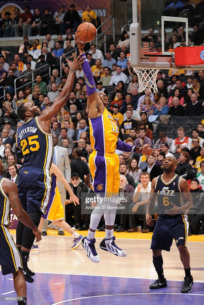 Dwight Howard #12 of the Los Angeles Lakers dunks the ball against the Utah Jazz at Staples Center on January 25, 2013 in Los Angeles, California.