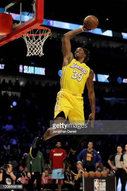 Dwight Howard of the Los Angeles Lakers dunks the ball in the 2020 NBA AllStar ATT Slam Dunk Contest during State Farm AllStar Saturday Night at the...