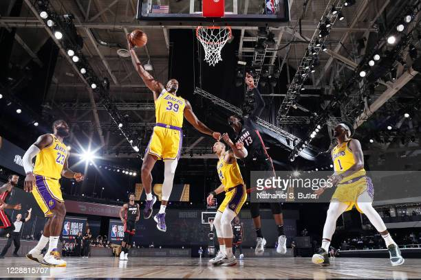 Dwight Howard of the Los Angeles Lakers grabs the rebound during the game against the Miami Heat during Game One of the NBA Finals on September 30...