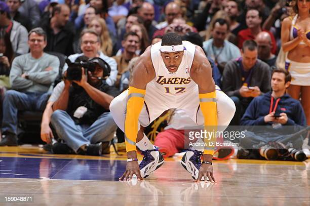 Dwight Howard of the Los Angeles Lakers looks on before a game against the Denver Nuggets at Staples Center on January 6 2013 in Los Angeles...