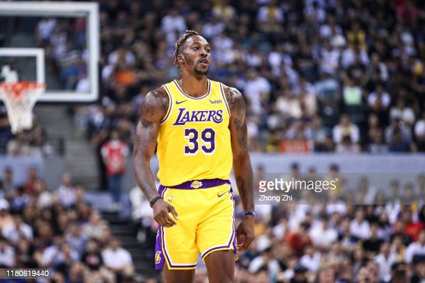 Dwight Howard of the Los Angeles Lakers looks on during the match against the Brooklyn Nets during a preseason game as part of 2019 NBA Global Games...