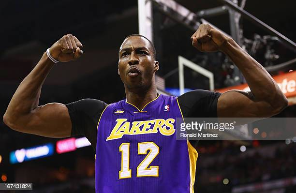 Dwight Howard of the Los Angeles Lakers reacts after being fouled against the San Antonio Spurs during Game Two of the Western Conference...