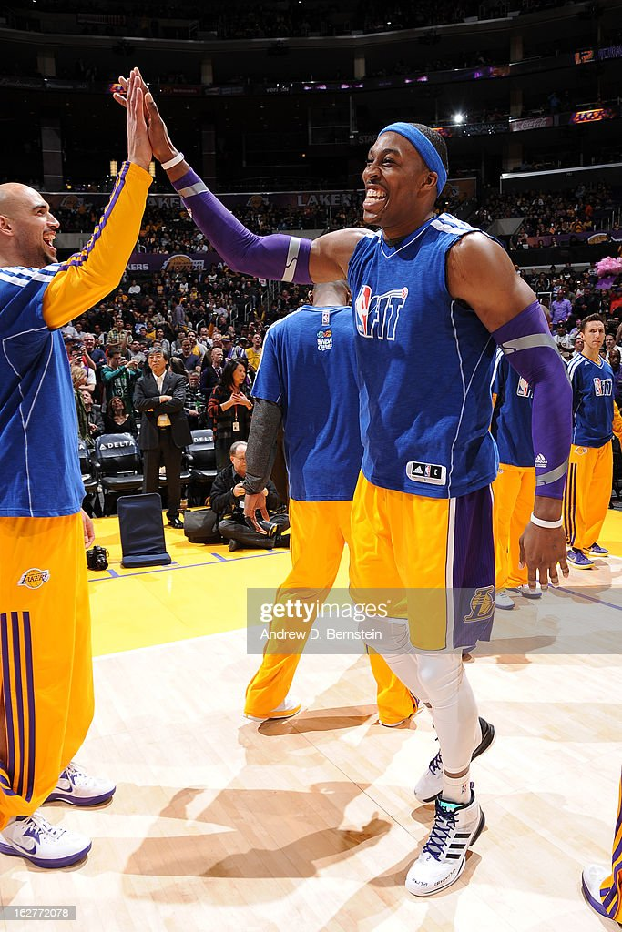 Dwight Howard #12 of the Los Angeles Lakers runs out before the game against the New Orleans Hornets at Staples Center on January 29, 2013 in Los Angeles, California.