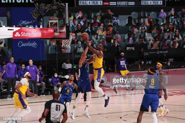 Dwight Howard of the Los Angeles Lakers shoots during the game against the Denver Nuggets in Game one of the Western Conference Finals of the 2020...