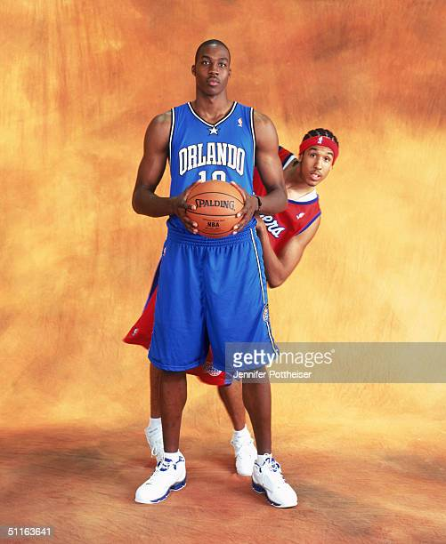 Dwight Howard of the Orlando Magic and Shaun Livingston the Los Angeles Clippers poses during the 2004 NBA Rookie Photo Shoot at Madison Square...