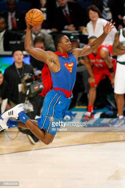 Dwight Howard of the Orlando Magic attempts a dunk during the Sprite Slam Dunk Contest at the New Orleans Arena February 16 2008 in New Orleans...