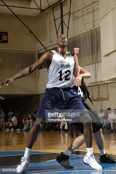 Dwight Howard of the Orlando Magic attempts to rebound against the Miami Heat during the 2004 NBA Pepsi Pro Summer League game at the RDV Sportsplex...