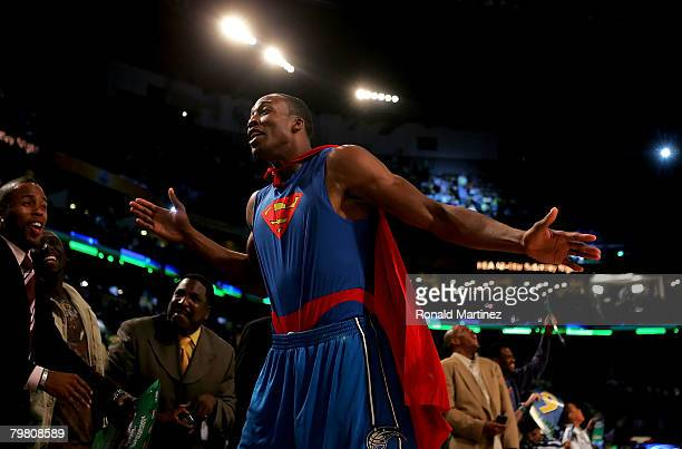 Dwight Howard of the Orlando Magic celebrates a dunk in the second round of the Sprite Slam Dunk Contest part of 2008 NBA AllStar Weekend at the New...