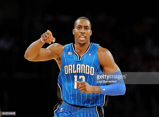 Dwight Howard of the Orlando Magic celebrates during the game against the Los Angeles Lakers at Staples Center on January 16 2009 in Los Angeles...