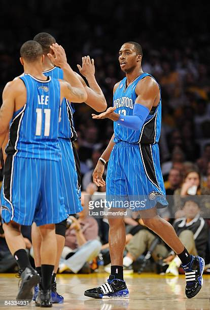 Dwight Howard of the Orlando Magic celebrates with his teammates during the game against the Los Angeles Lakers at Staples Center on January 16 2009...