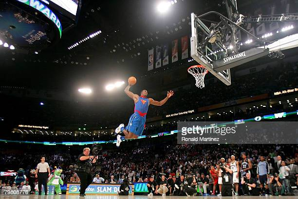 Dwight Howard of the Orlando Magic completes a dunk in the Sprite Slam Dunk Contest, part of 2008 NBA All-Star Weekend at the New Orleans Arena on...