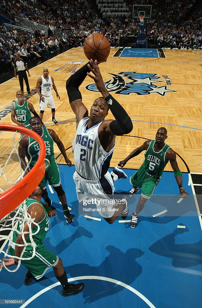Dwight Howard #12 of the Orlando Magic dunks against the Boston Celtics in Game Five of the Eastern Conference Finals during the 2010 NBA Playoffs on May 26, 2010 at Amway Arena in Orlando, Florida.