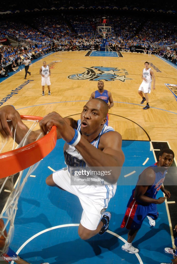 Dwight Howard #12 of the Orlando Magic dunks against the Detroit Pistons in Game Three of the Eastern Conference Quarterfinals during the 2007 NBA Playoffs at Amway Arena on April 26, 2007 in Orlando, Florida.