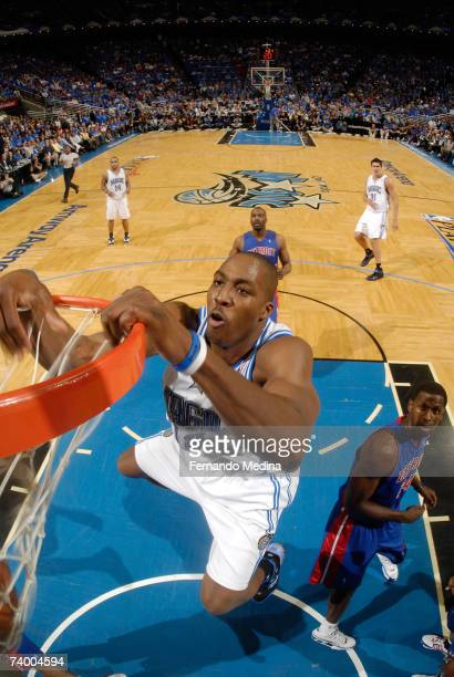 Dwight Howard of the Orlando Magic dunks against the Detroit Pistons in Game Three of the Eastern Conference Quarterfinals during the 2007 NBA...