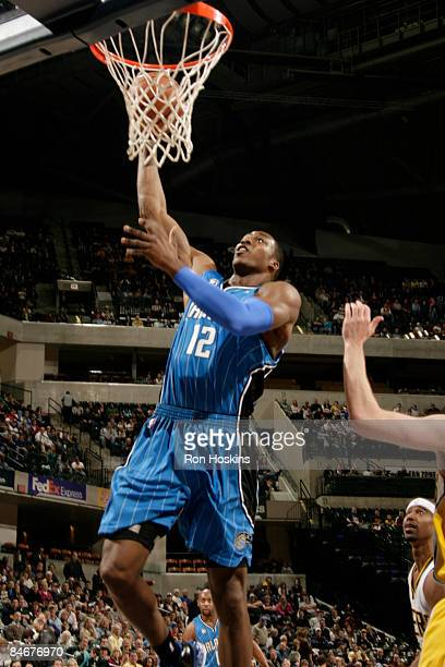 Dwight Howard of the Orlando Magic dunks against the Indiana Pacers at Conseco Fieldhouse on February 6, 2009 in Indianapolis, Indiana. NOTE TO USER:...