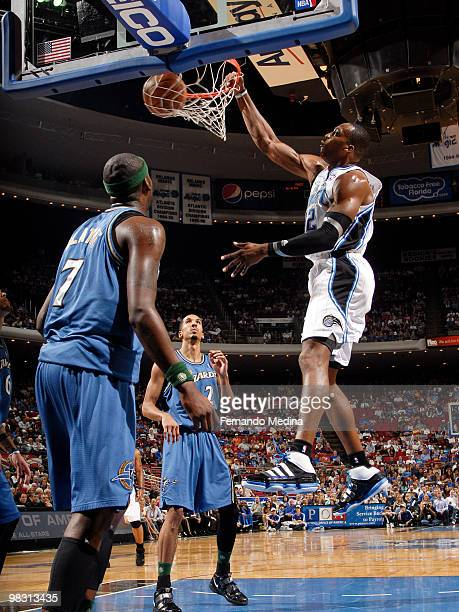 Dwight Howard of the Orlando Magic dunks against the Washington Wizards during the game on April 7 2010 at Amway Arena in Orlando Florida NOTE TO...