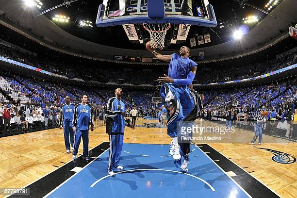 Dwight Howard of the Orlando Magic dunks during warm ups before the game against the Boston Celtics in Game Six of the Eastern Conference Semifinals...