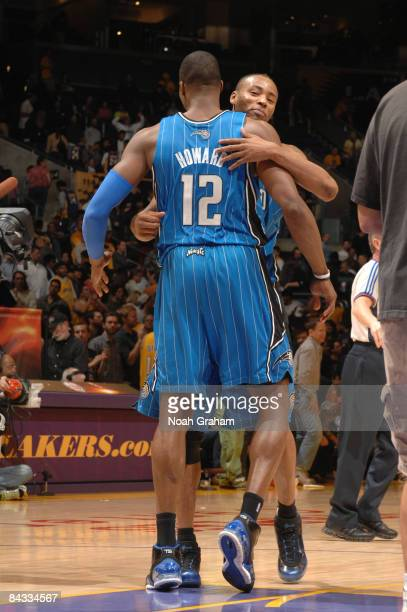 Dwight Howard of the Orlando Magic embraces teammate Rashard Lewis following their victory over the Los Angeles Lakers at Staples Center on January...