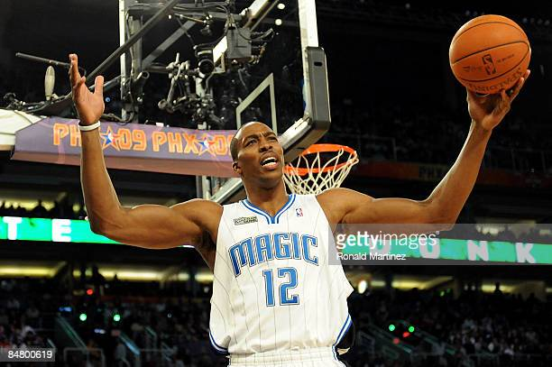 Dwight Howard of the Orlando Magic fires up the crowd in the Sprite Slam Dunk Contest on AllStar Saturday Night part of 2009 NBA AllStar Weekend at...