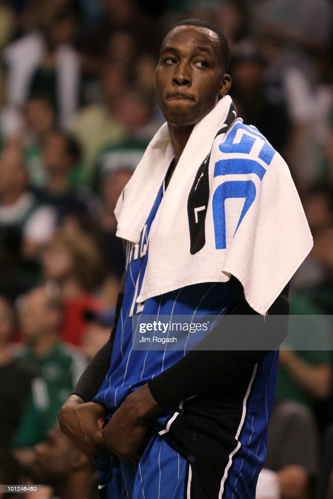 Dwight Howard #12 of the Orlando Magic looks on dejected after the Magic lost 96-84 against the Boston Celtics in Game Six of the Eastern Conference Finals during the 2010 NBA Playoffs at TD Garden on May 28, 2010 in Boston, Massachusetts.