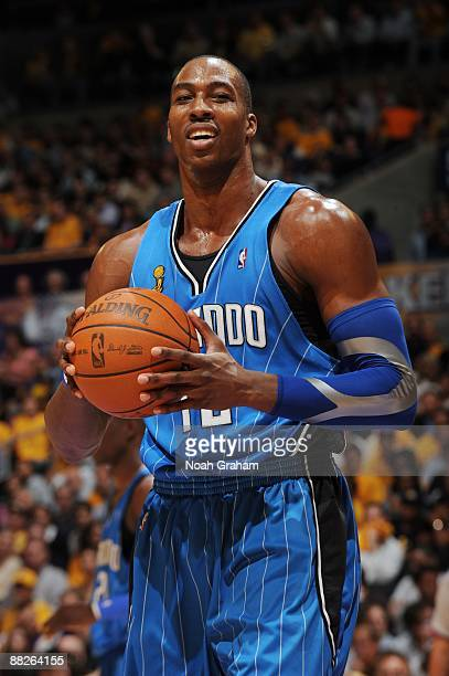 Dwight Howard of the Orlando Magic looks on in Game One of the 2009 NBA Finals against the Los Angeles Lakers at Staples Center on June 4 2009 in Los...
