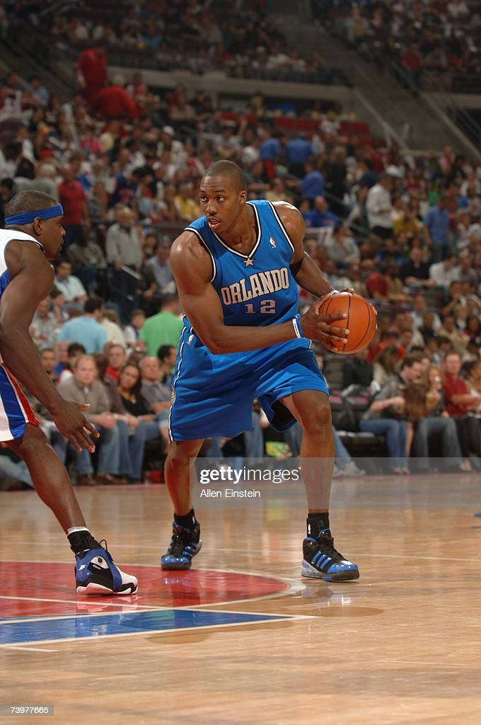Dwight Howard #12 of the Orlando Magic looks to make a move against the Detroit Pistons in Game One of the Eastern Conference Quarterfinals during the 2007 NBA Playoffs at The Palace of Auburn Hills on April 21, 2007 in Auburn Hills, Michigan. The Pistons won 100-92.