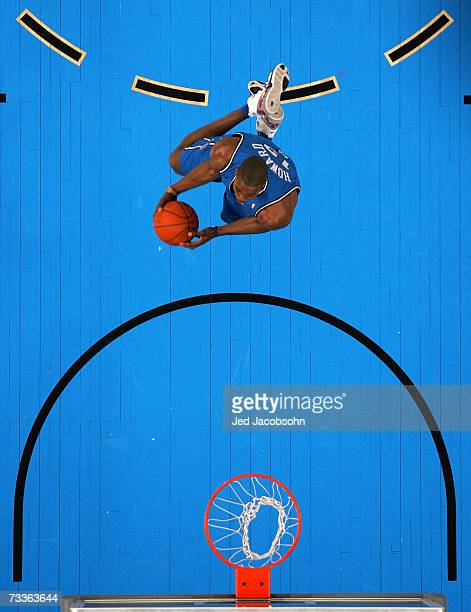 Dwight Howard of the Orlando Magic participates in the Sprite Slam Dunk Competition during NBA All-Star Weekend on February 17, 2007 at Thomas & Mack...
