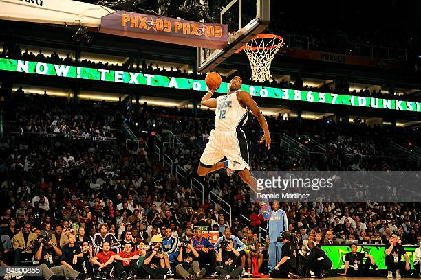 Dwight Howard of the Orlando Magic participates in the Sprite Slam Dunk Contest on AllStar Saturday Night part of 2009 NBA AllStar Weekend at US...