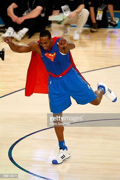 Dwight Howard of the Orlando Magic poses after his dunk in the second round of the Sprite Slam Dunk Contest part of 2008 NBA AllStar Weekend at the...