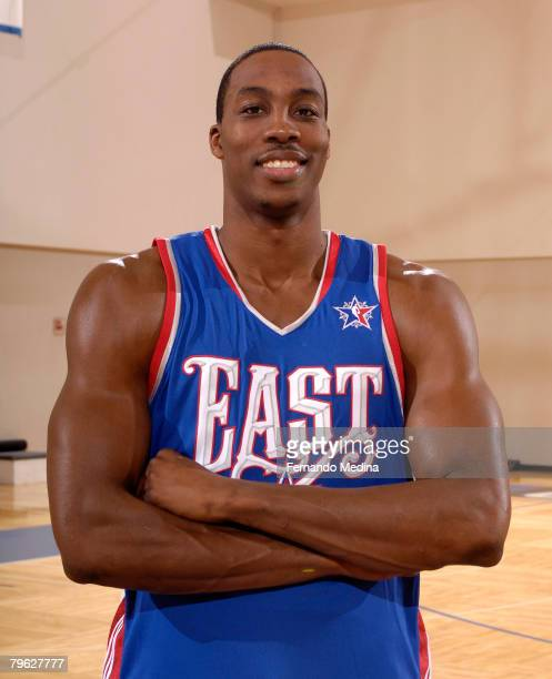 Dwight Howard of the Orlando Magic poses for a photo with his AllStar jersey at the RDV Sportsplex February 7 2008 in Maitland Florida NOTE TO USER...