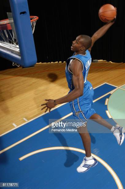 Dwight Howard of the Orlando Magic poses for a portrait during the 2004 NBA Rookie shoot at the Madison Square Garden Training Facility on August 2,...