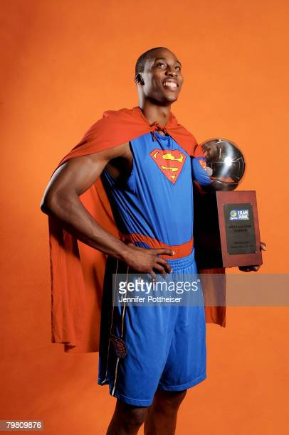 Dwight Howard of the Orlando Magic poses for a portrait with his trophy from the 2008 Sprite Dunk Contest from All-Star Saturday Night on February...